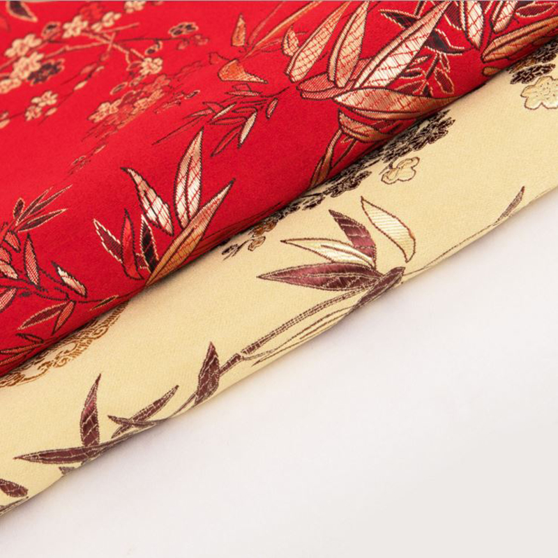 new arrival brocade polyester bamboo leaf fabric for patchwork felt tissue telas bed sheet cos play children cloths 100x75cm