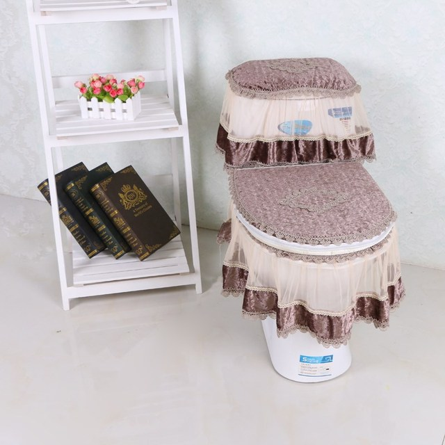 lace toilet seat cover three piece set u shaped overcoat wc cover home decor