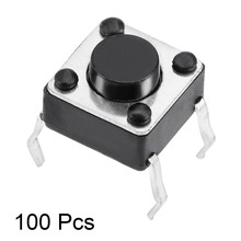 UXCELL 100PCS 6x6x4mm Switches Panel Mini/Micro/Small PCB Momentary Tactile Tact Push Button Switch DIP Black Square