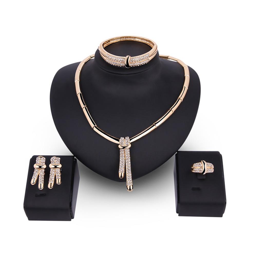 Wedding Necklace Earrings Ear Studs Bracelet Ring Banquet Fashion Jewelry Set