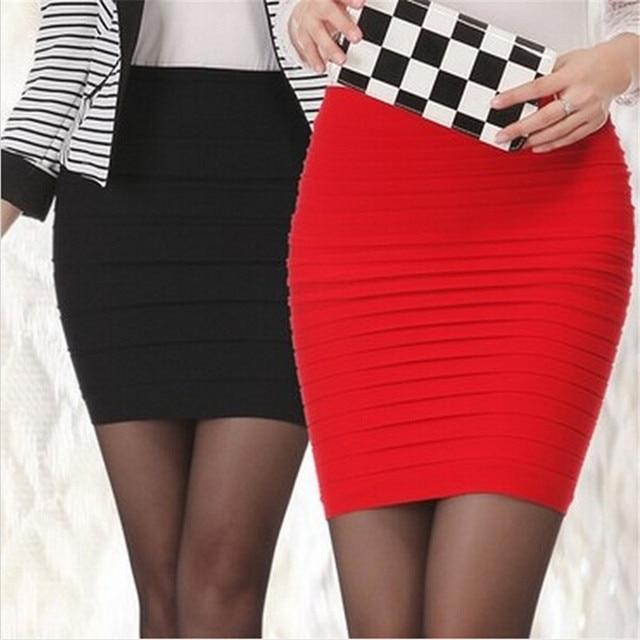 ad03f747fbfdc1 € 3.45 15% de réduction 2019 femmes Sexy mode crayon droite jupe plié  taille haute Stretch Mini Slim courte jupe 16 couleur Mature fille  tentation ...