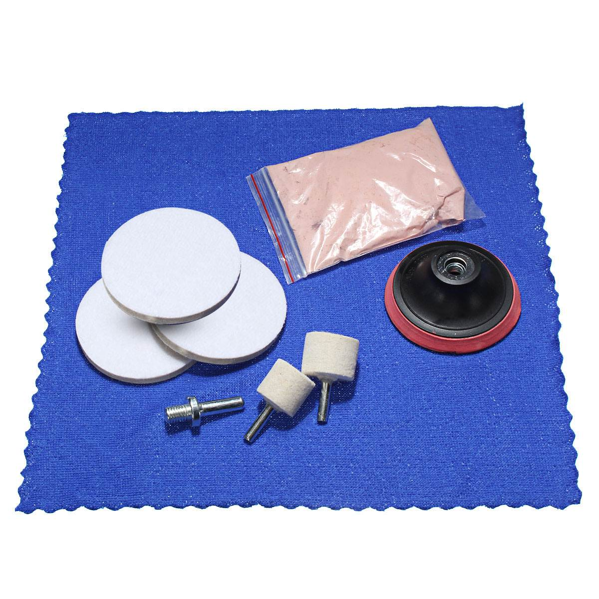 1 set Glass Cerium Oxide Powder + 3 Wheel + Felt Scrach Remover Polishing Kit ...