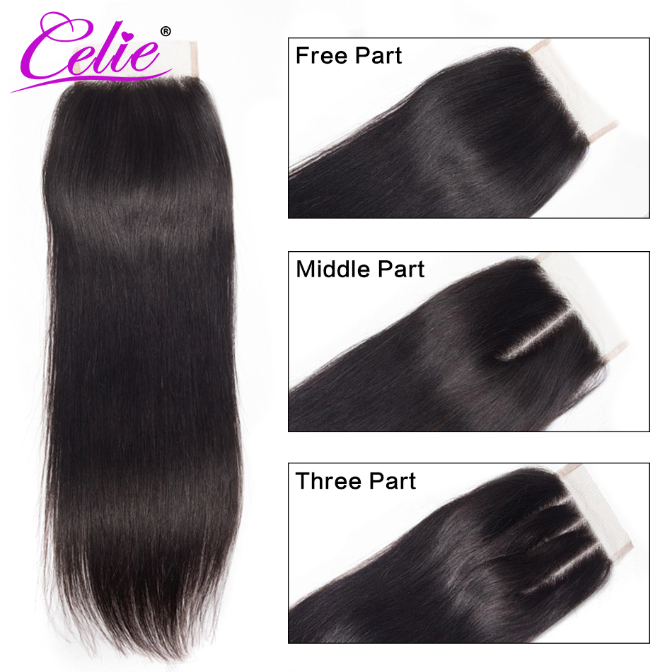 Celie Hair Brazilian Hair Weave Bundles With Closure Straight Hair Bundles With Closure Remy Human Hair Bundles With Closure