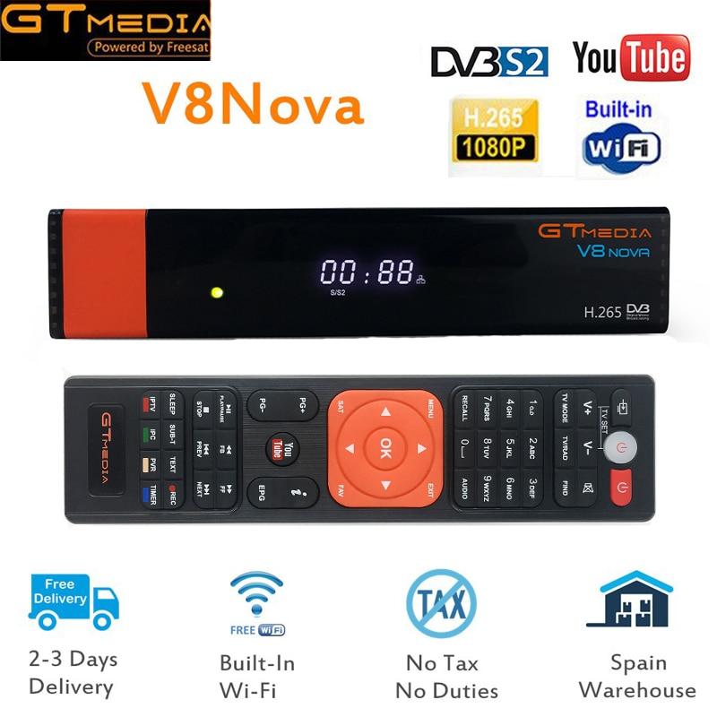 GTmedia V8 NOVA Freesat V9 SUPER Satellite TV Receiver DVB-S2 FULL HD 1080P Support PowerVu DRE &Biss key DLNA, SAT To IP satellite tv receiver freesat v8 super 150m usb wifi 1year 4cline cccam for europe support iptv biss powervu dre dvb s s2 hd