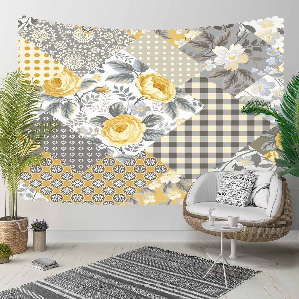 Else Gray White Geometric Patchwork Yellow Roses 3D Print Decorative Hippi Bohemian Wall Hanging Landscape Tapestry Wall Art