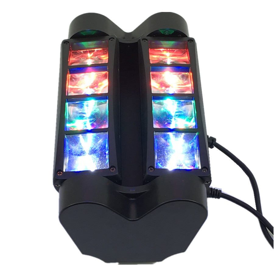 High quality 8pcs Mini Led Spider Light DMX512 LED Moving Head Light led Beam club dj disco lighting KTV lamps RGBW Beam 9 moving head laser spider light green color 50mw 9 triangle spider moving head light laser dj light disco club event