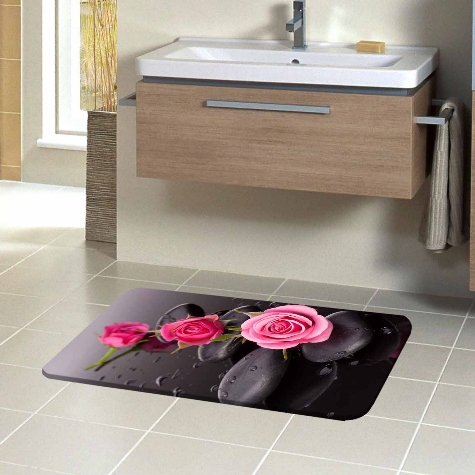 Else Pink Roses on Black Spa Stones Flowers Floral 3d Pattern Print Bath Mat Anti Slip Soft Washable Bathroom Mat Toilet Rugs