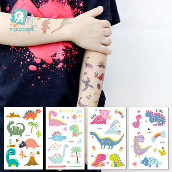 Rocooart Dinosaurs Tattoo Stickers Children Birthday's Gift Fake Tattoo Kids Tatuajes Body Art Waterproof Temporary Tattoo Taty