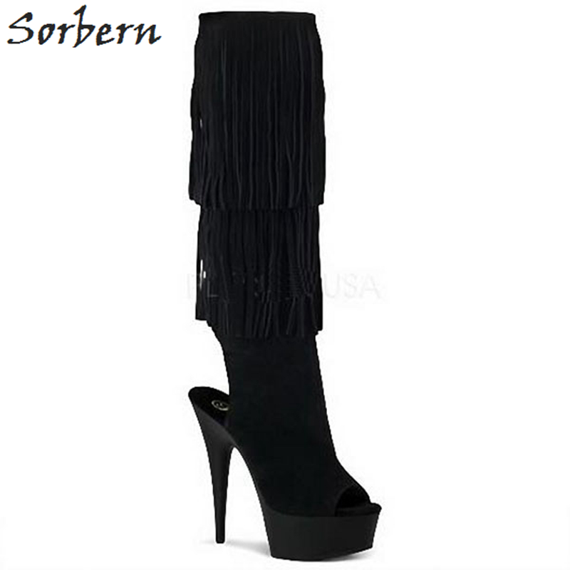 Sorbern Fashion Tassel Clear High Heels Knee High Boots Women Platform Shoes Gothic Boots Women Plus Size Open Toe Booties plus open front tassel trim kimono