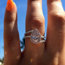 Vintage Ladies Wedding Big Zircon Ring Fashion Geometric Rose Gold Glamour Ring Luxury Rhinestone Romantic Female Jewelry Gift romantic plated rose gold rhinestone coralline ring