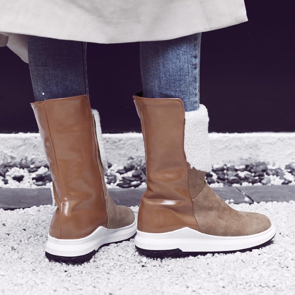 Caliente Piel N091 Estilo Negro Resistente Nuevo Mujer marrón De Moda Agua Nieve Más Antideslizante Zapatos Invierno Botas Tamaño Femenina Suela Superior Al HYgqXXw