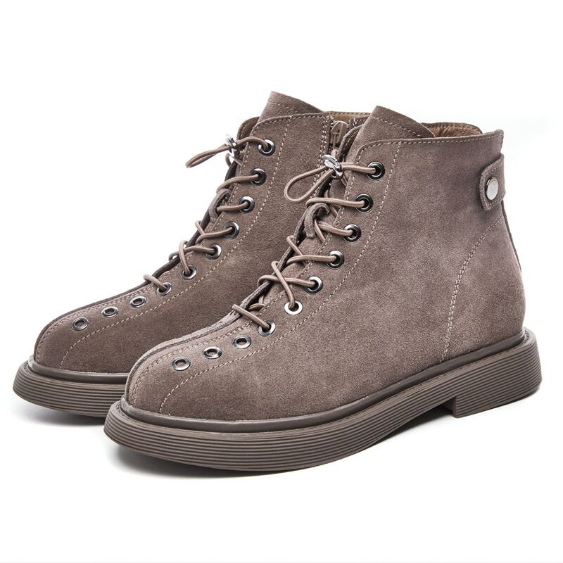 Retro Women's Shoes Female Cow Suede Leather Matte Flat Heels Casual Martin Boots Casual Lace-Up Boots & Zip 2 Colors 5