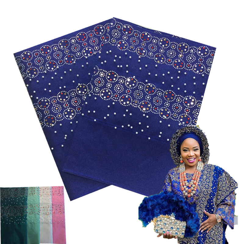 Nigeria high quality Luxury Aso Oke Gele with beads and big stones african aso oke headwrap good selling aso oke with full beadsNigeria high quality Luxury Aso Oke Gele with beads and big stones african aso oke headwrap good selling aso oke with full beads