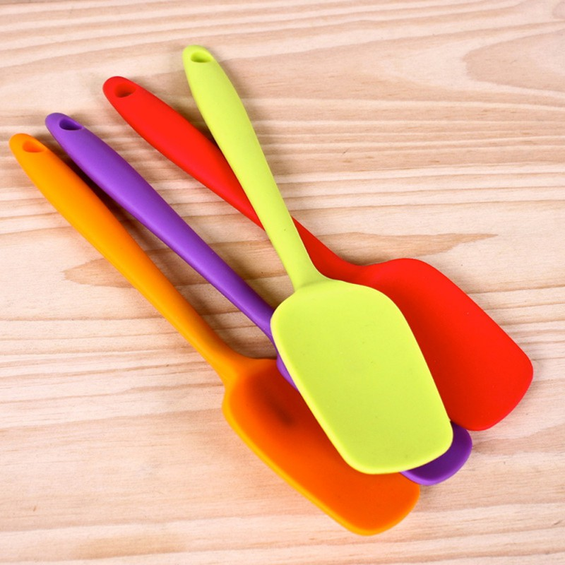 New High Quality Durable non-toxic and Colorful Silicone Mixing Spoon Utensil Cake Putty Spatula Bakeware Home Tableware OB