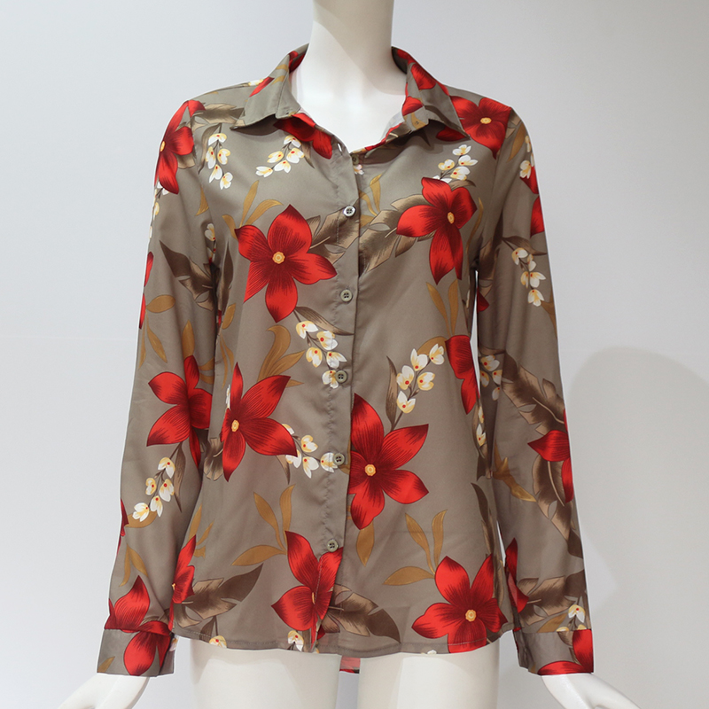 Women Blouses Fashion Long Sleeve Turn Down Collar Office Shirt Leisure Blouse Shirt Casual Tops 71