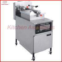 PFG600 gas digital LCD vertical pressure deep fryer with oil pump built in automatic oil filter system