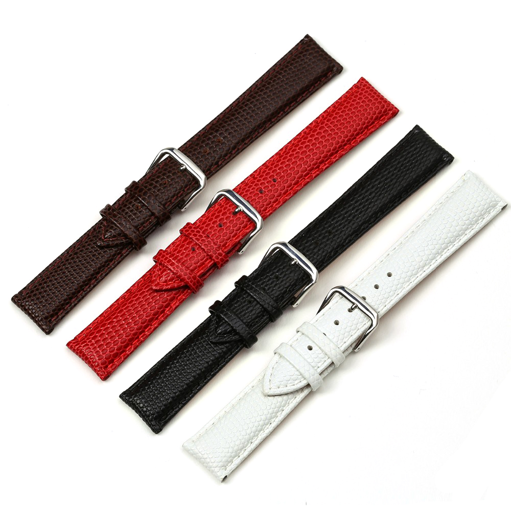 EACHE Imported Genuine Calfskin Lizard Pattern Genuine Leather Women Watchband Black Brown Red White 12 14 16 18 20mm lizard сандали hip m leather 45 black
