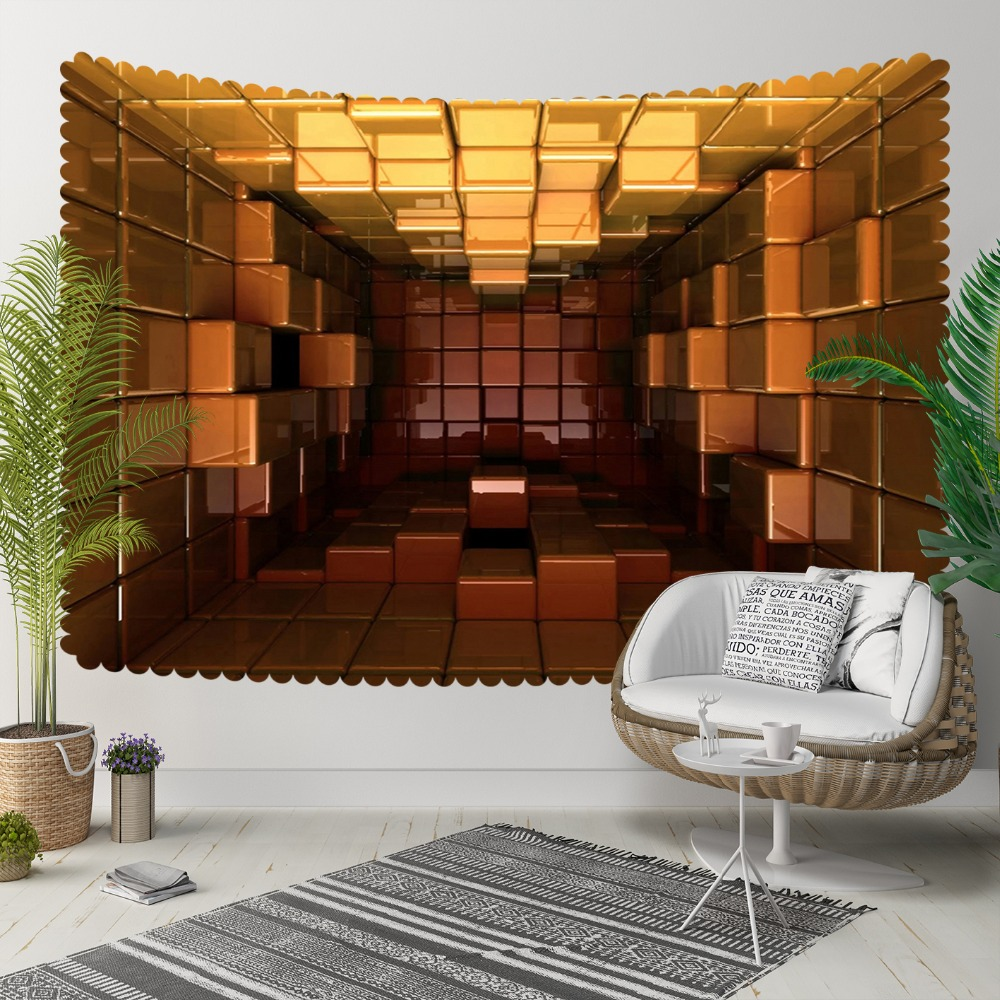 Else Brown Golden Cubex Boxes Abtsract Geometric 3D Print Decorative Hippi Bohemian Wall Hanging Landscape Tapestry Wall Art