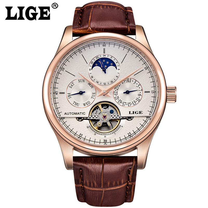 Men Watches Skeleton Business Wristwatch Gold Automatic Mechanical Watch Tourbillon Leather Sport Clock relojes hombre