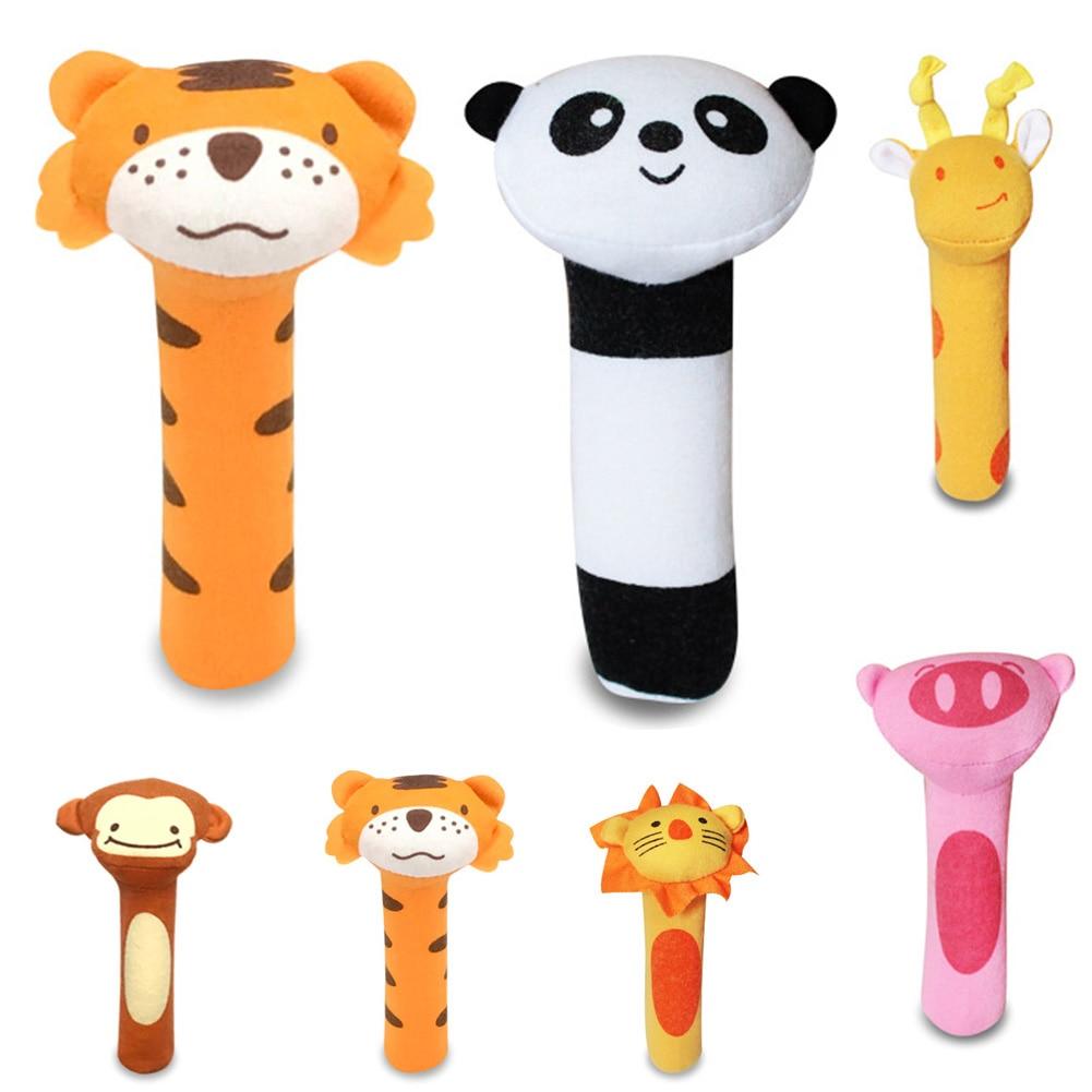 Stuffed Handbells Baby Rattles Cartoon Toy Animal Squeaker Bar Baby Toys Hand Puppet Enlightenment Plush Doll
