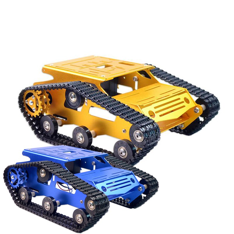 Original Xiao R DIY Self-assembled Aluminium Alloy RC Wifi Robot Car Tank Chassis Kit Set Gold Blue For Kids Adult DIY Toy Gifts cool intellectual development diy toy car black blue 2 aa