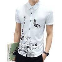 Venta caliente Camisa de Los Hombres Patrón de La Moda de Los Hombres Camisa de Manga Corta Venta Caliente de Alta Calidad Los Hombres Camisa ocasional Blanco Negro Azul Oscuro azul claro