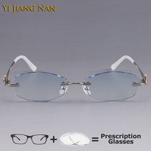 Yi Jiang Nan Brand Diamond Trimmed Rimless Titanium Eyeglasses Frames Women Fashion Blue Glasses Rhinestone Lenses