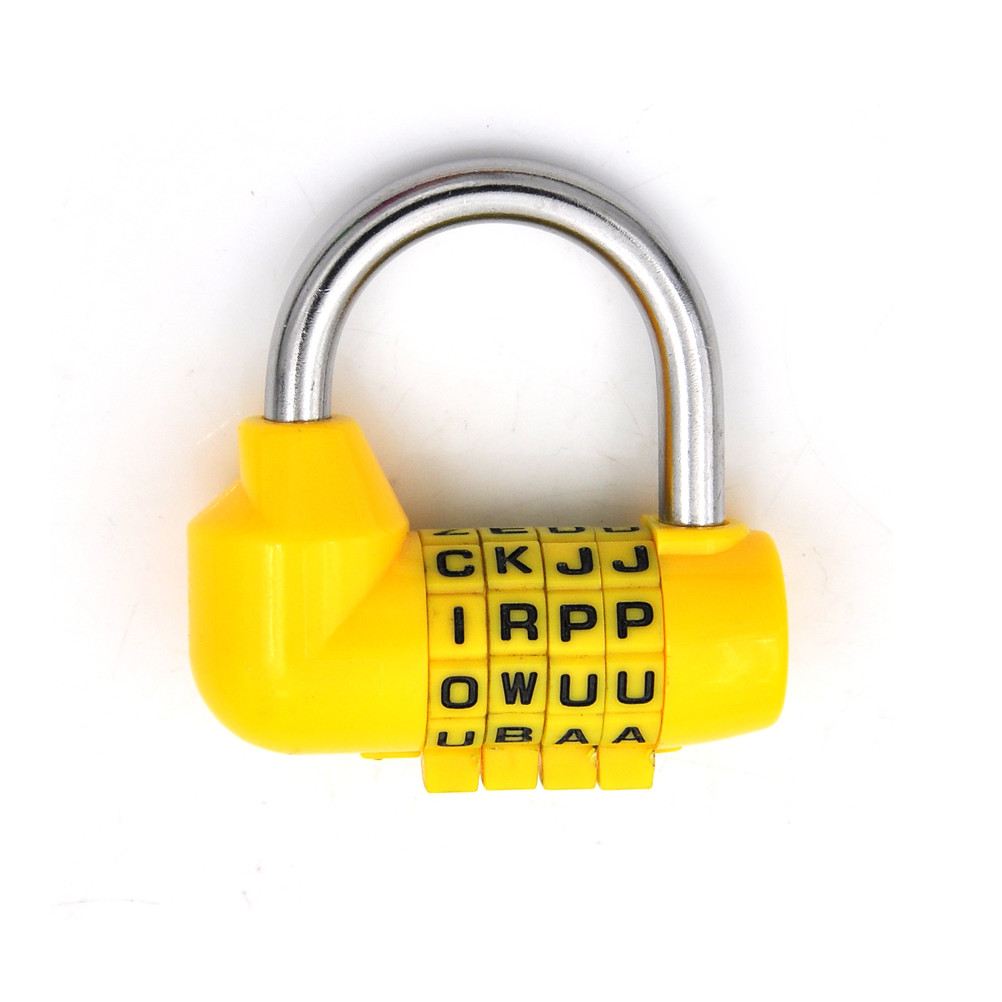 Pink , Black , Yellow, Green,red,orange 4 Dial Digit Letter Combination Travel Security Code Lock Diary Password Padlock Suitable For Men And Women Of All Ages In All Seasons