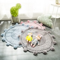 mylb Knitted Floor Mat Hand Woven Carpets Round rug Wave window Pad Bedroom Decor Kids Play Rug Bedroom props