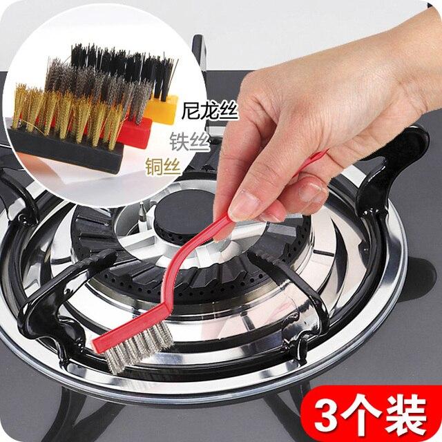 3pcs Set Gas Stove Clean Brush Iron Fiber Copper Kitchen Cleaning Tools