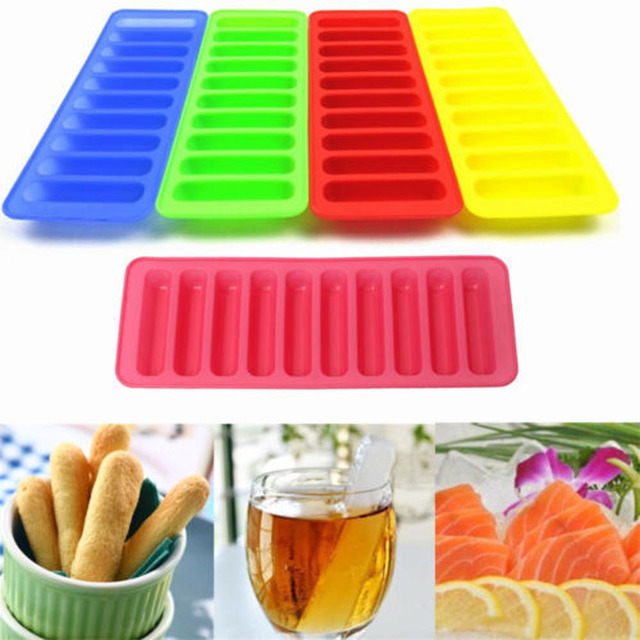 1 Pc Ice Making Mould 10 Grids Long Strip Shaped Food Silicon Mold