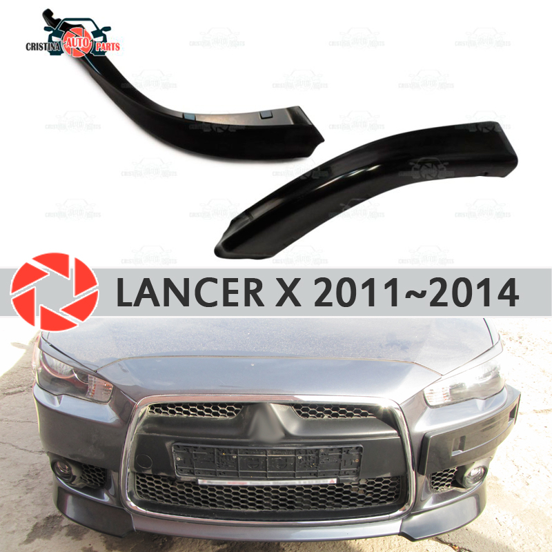 Fangs insert for Mitsubishi Lancer X 2011-2014 on front bumper ABS plastic body kit molding decoration car styling tuning fit for honda vfr1200f 2010 2011 2012 2013 injection abs plastic motorcycle fairing kit bodywork vfr 1200f 10 13 free shipping06