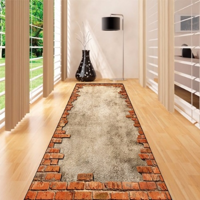 Else Brown Gray Aging Vintage Brick Wall 3d Print Non Slip Microfiber Washable Long Runner Mats Floor Mat Rugs Hallway Carpets