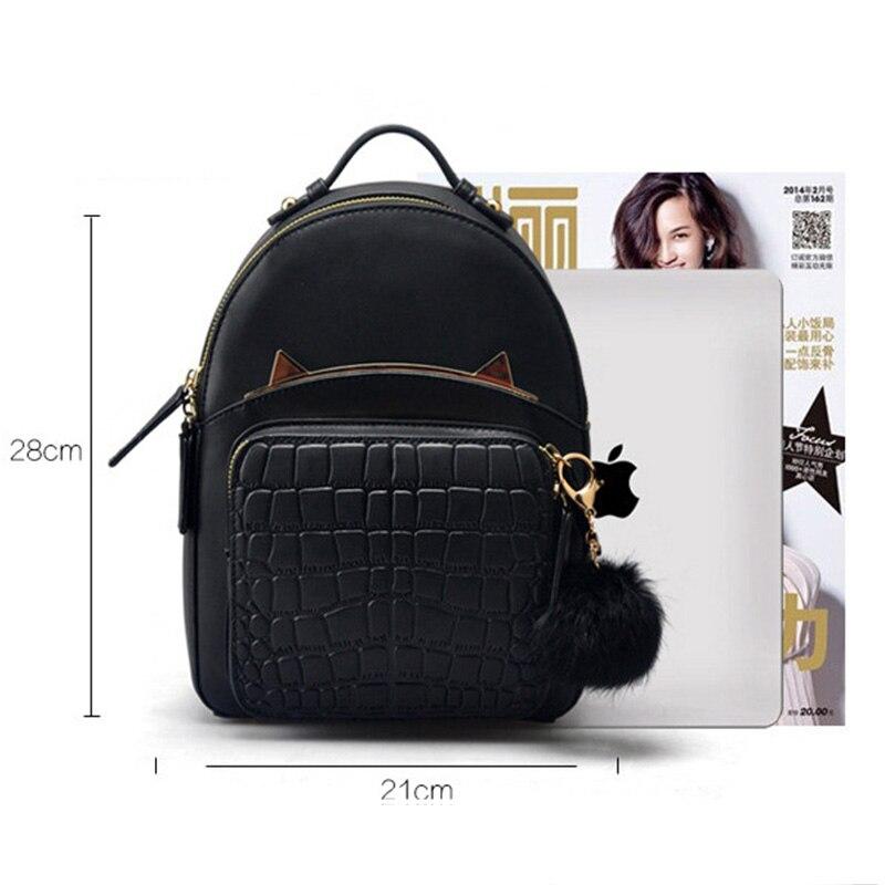 Cuir véritable femmes Mini sacs à dos noir avec balle moelleuse dames petits sacs à dos mignons voyage sac à dos Mochila Feminina rugzak - 6