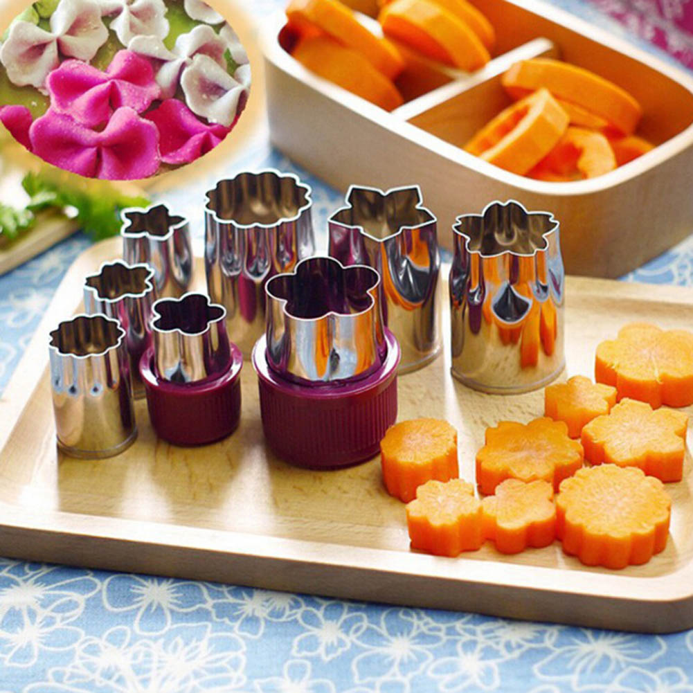 8Pcs set Creative Flower Shape Cutter Fruit Vegetable Stainless Steel Carving Tool Cookie Biscuit Cooking Tools