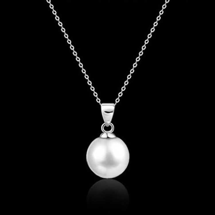 1 Piece Women Chain Cute Pearl Alloy Pendant Long Necklace Love Beautiful Gift