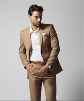 Khaki Men Suit Fashion Solid Suit Casual Slim Fit 2 PCs(Jacket+Pants) Mens Wedding Suits Jackets Male Suits Custom Made