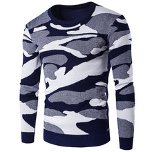 Autumn Winter Fashion Camouflage Sweaters Mens Slim Knitting Jumper Long Sleeve Round Neck Male Sweater Pullover Wool Knitwear
