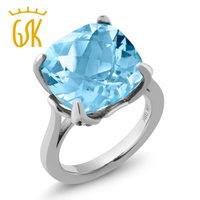 9 18 Ct Cushion Checkerboard Sky Blue Topaz 925 Sterling Silver Women S Ring
