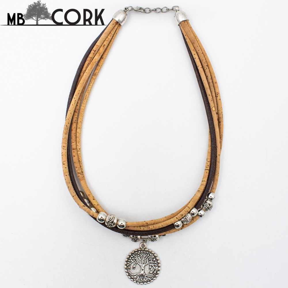 Cork Jewelry: MB Cork,life Of Tree Portuguese Cork Necklace With Beige