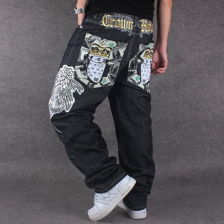 Candid Hip Hop Men Baggy Jeans Black Denim Loose Pants Overall Rap Jeans Patern Boy Rapper Fashion Big Size 30-44 Famous Brand Jeans 100% Guarantee