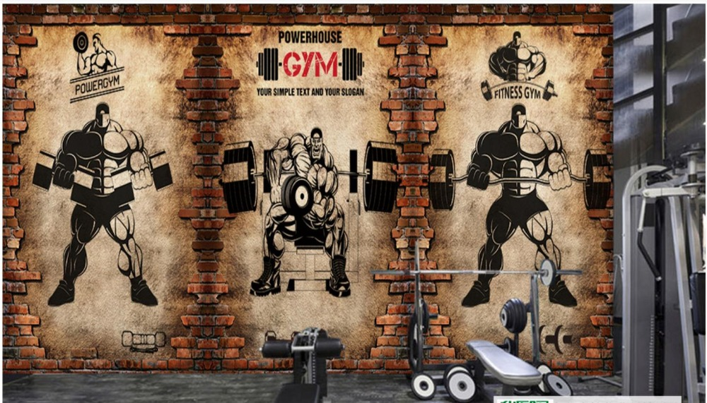 Custom Mural Wallpaper Gym Murals 3d Nostalgic Brick Wall Vintage Sport Fitness Club Weightlifting Backdrop 3d Photo Wallpaper