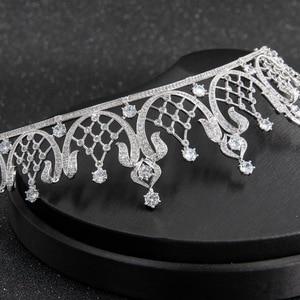 Image 5 - קלאסי גבישי CZ מעוקב Zirconia חתונת כלה מלכותי נזר נזר כתר נשים לנשף שיער תכשיטי אביזרי CH10252