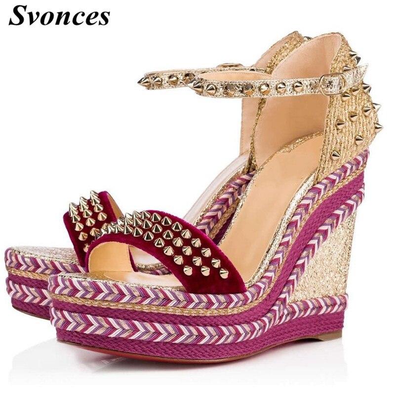 12cm Womens Platform Hidden High Wedge Heels Rhinestone Round Toe Shoes Zsell