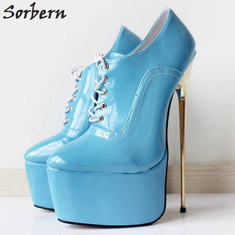 Sorbern Women Metal Heels Boots 22CM Lace Up Plus Size Cosplay Ladies Party Boots 2018 New Arrive Platform Patent Leather B plus size light up cosplay party skirt