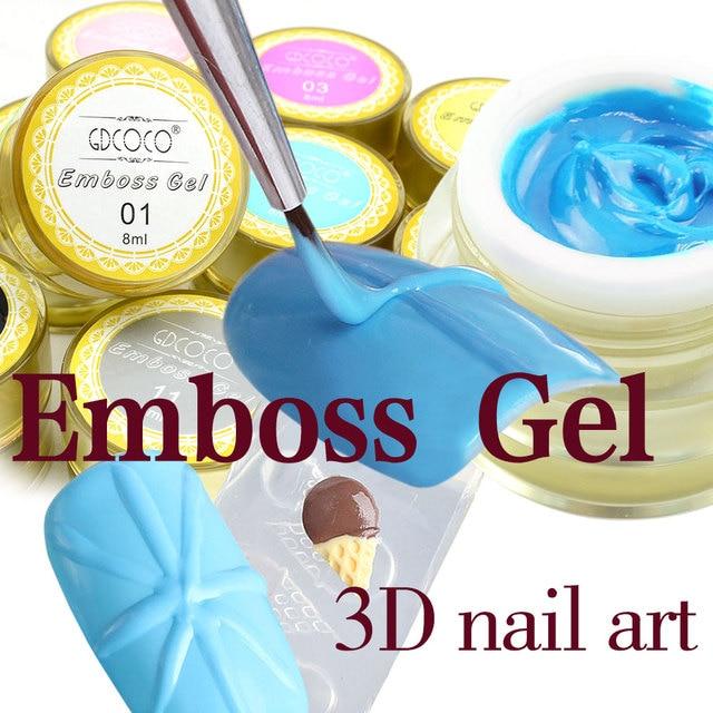 GDCOCO 3D Emboss Gel 4D Drawing Gel Canni Factory 12 colors 8ml Nail Art DIY Design Soak Off UV Sliver Gold Lace Painting Gel