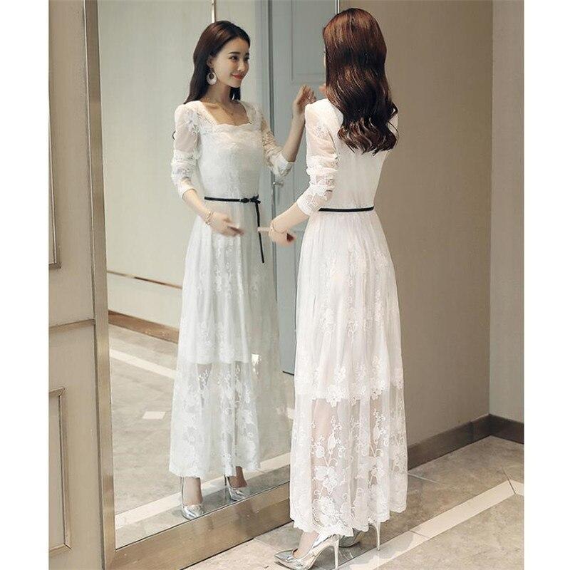 Sexy Crochet dentelle robe 2018 printemps femmes mode manches longues Maxi robes femme élégant soirée fête blanc longue robe CM2508 - 5