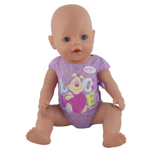 43cm Baby Born Zapf Doll Purple Rabbit Jumpsuits Baby Born Doll Clothes Children Best Gift