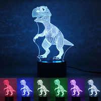 СВЕТОДИОДНЫЙ 3D ночник с питанием от USB динозавр, настольная лампа с сенсорным ключом, креативный светильник для украшения дома, отеля, вечер...