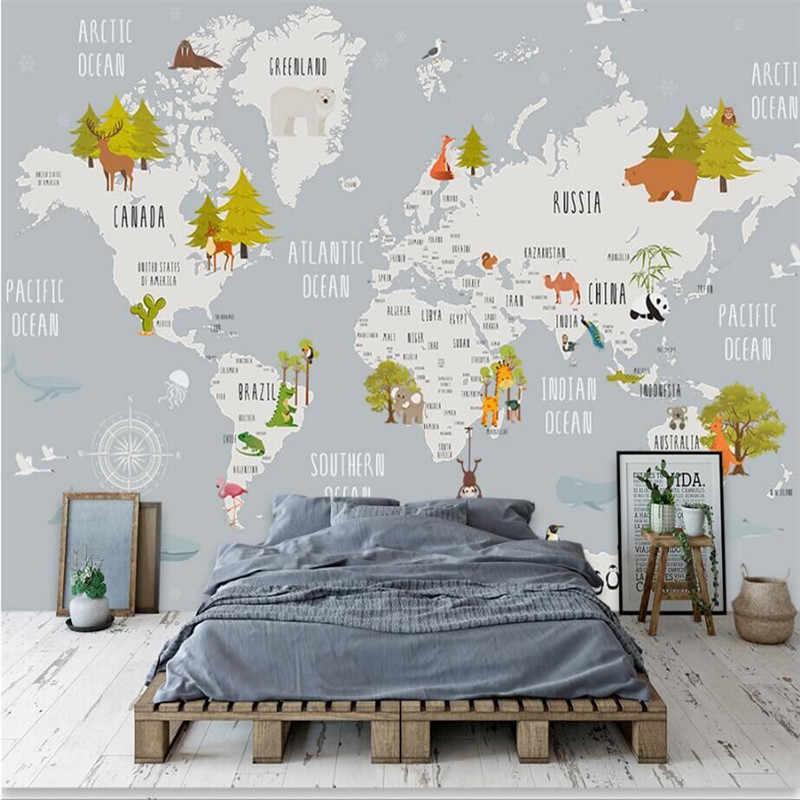 الكرتون خريطة العالم جدار المهنية صنع خلفيات جدارية مخصص صور الحائط خلفيات Aliexpress